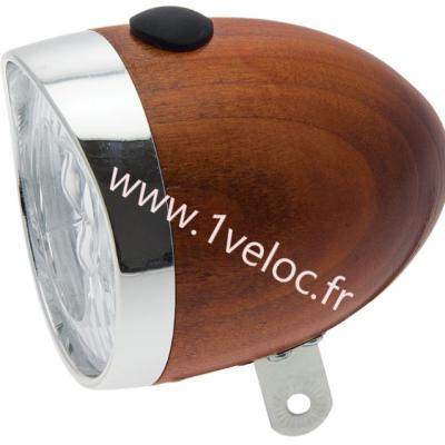 Eclairage vélo avant en bois acajou honey color pour velo vintage retro www 1veloc fr 2