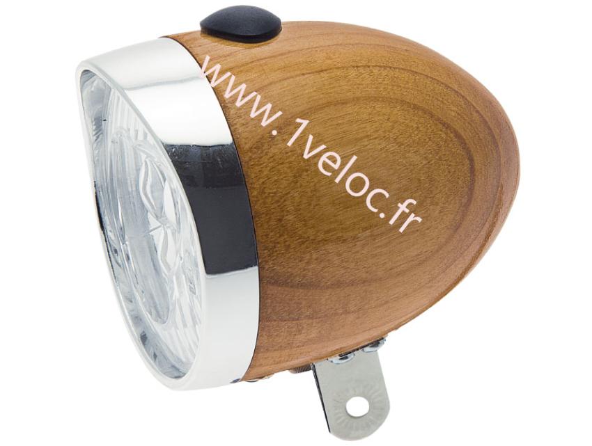 Eclairage avant en bois pour velo vintage retro www 1veloc fr