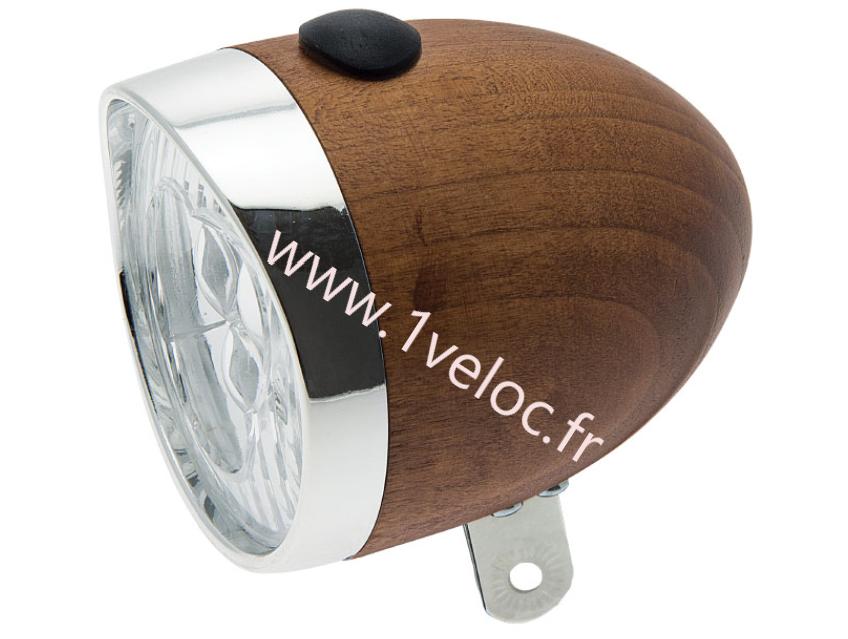 Eclairage vélo avant en bois acajou walnut color pour velo vintage retro www 1veloc fr