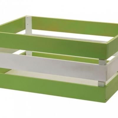 Panier velo caisse en bois renforcee versilia vert blanc 43x33xh19 www 1veloc fr