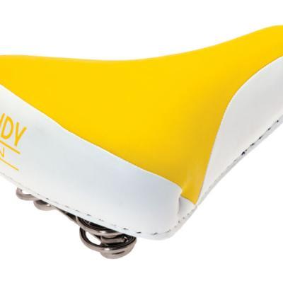 Selle vélo vintage confort jaune blanc, 1véloc arles